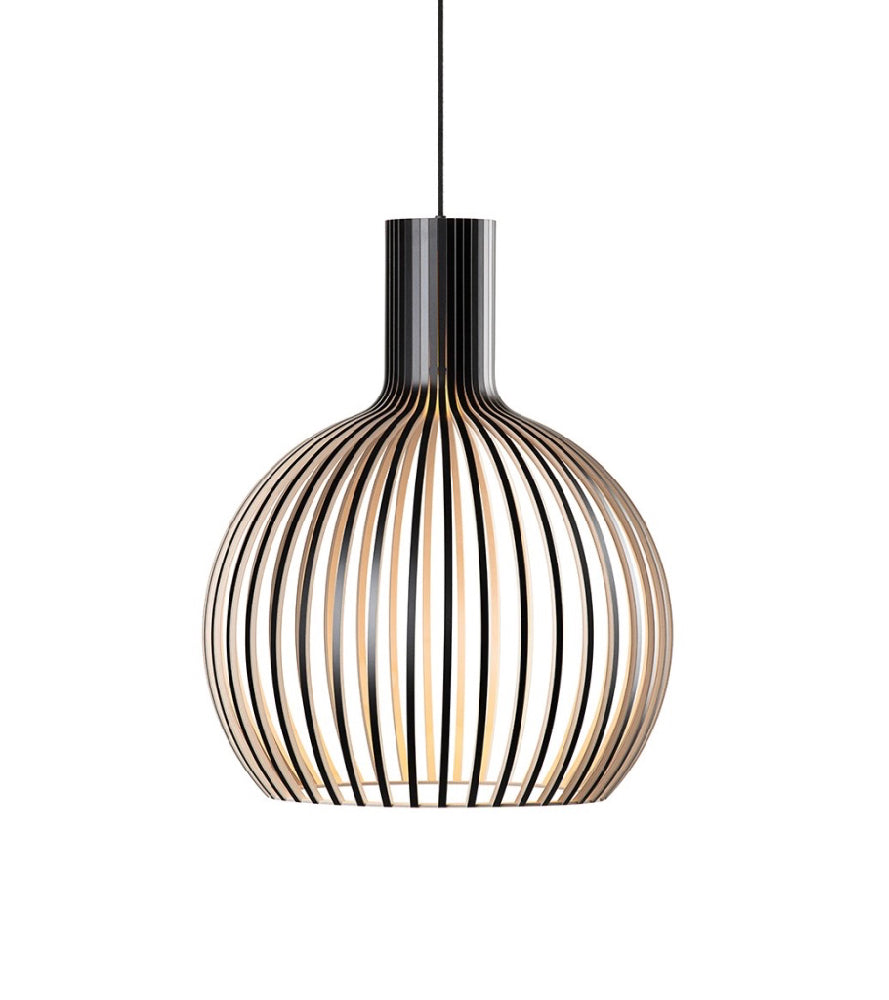 Octo Small 4241 Black, White, Birch Secto, High end quality ceiling and floor lights Scandinavian Wooden Lights Laminated birch pendant lamp, Finnish design  Minimalist wood pendant light, Secto light  Finnish designer Seppo Koho