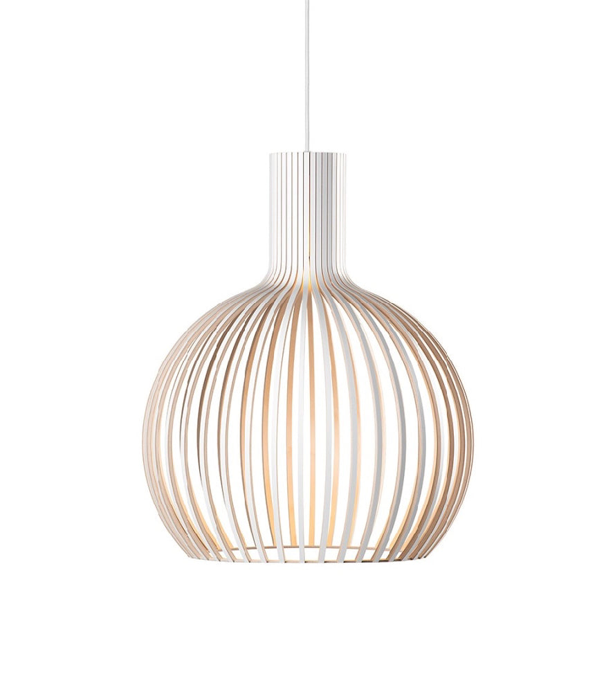Octo Small 4241 Black, White, Birch Secto, Finnish designer Seppo Koho Contemporary, elegant and versatile light  Handmade Finnish design   Timeless wooden lighting collection with Scandinavian feel   Handmade in Finland   Creative craftmanship PEFC certified birch Certified birch wood