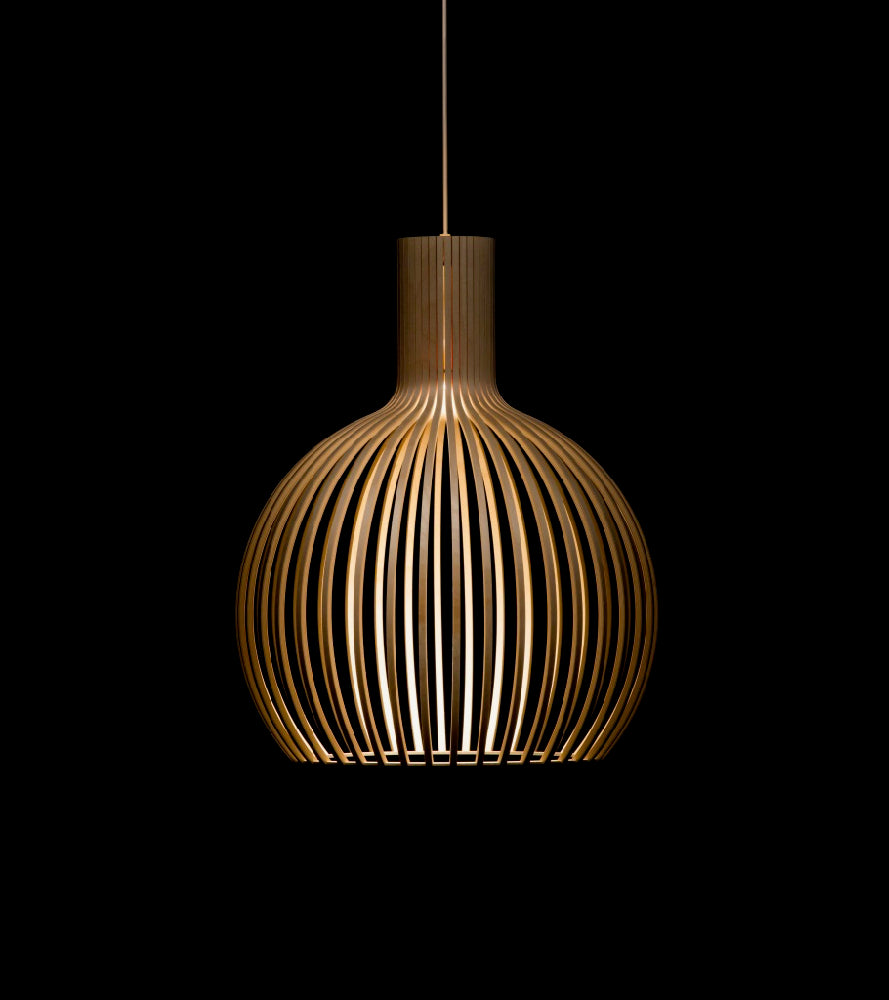 Octo Small 4241 Black, White, Birch Secto, in the dark, contrast, pendant Finnish designer Seppo Koho Contemporary Finland elegant and versatile light Handmade Finnish design Timeless wooden lighting collection with Scandinavian feel Handmade in Finland Creative craftmanship PEFC certified birch Certified birch wood