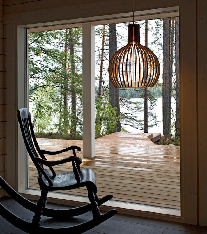 Octo Small 4241 Black, White, Birch Secto, nature wooden lamps, display, Octo Small 4241 Black, White, Birch Secto, elegant wooden shade Timeless Secto Design Authentic sustainably manufactured design Laminated white black natural birch pendant lamps Minimalist wood pendant light, Secto light Finnish designer Seppo Koho