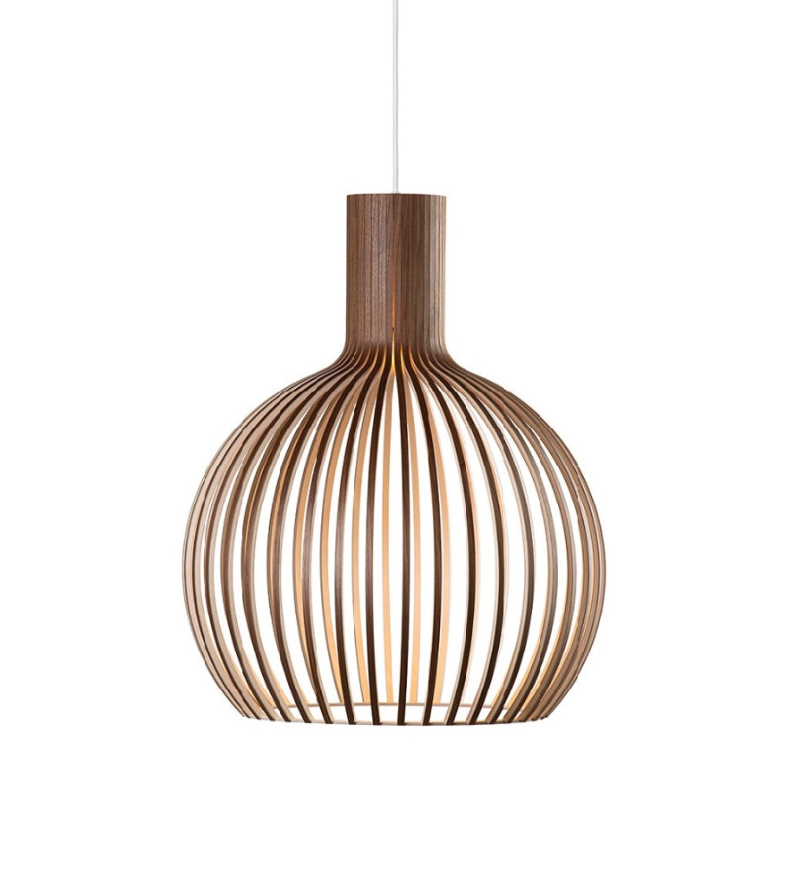 Octo Small 4241 Walnut Secto Scandinavian Wood Pendant Light Organic ceiling light Classic Finnish Light design, Restaurant residential lighting, High end quality ceiling lighting Scandinavian Wooden Lights Laminated birch pendant lamp, Finnish design  Minimalist wood pendant light, Secto light  Finnish designer Seppo Koho