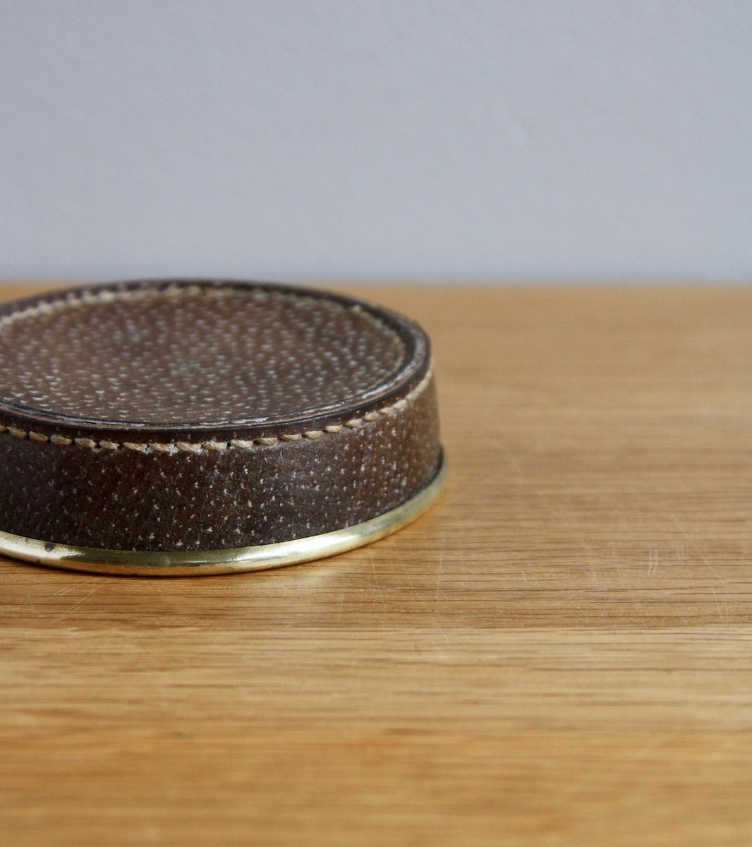 Ostrich Leather Covered 20th Century Scandinavian Coin Tray, Carl Auböck