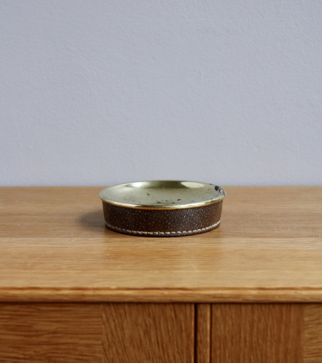 Small Vintage Brass & Ostrich Leather Coin Tray, Carl Auböck