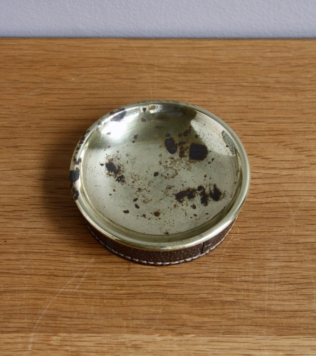 Natural Brass & Ostrich Leather Coin Tray, Carl Auböck