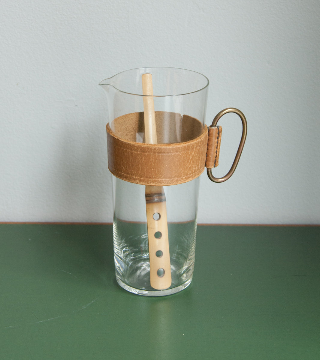 Mid-20th Century Glass Pitcher & Bamboo Stirrer, Carl Auböck