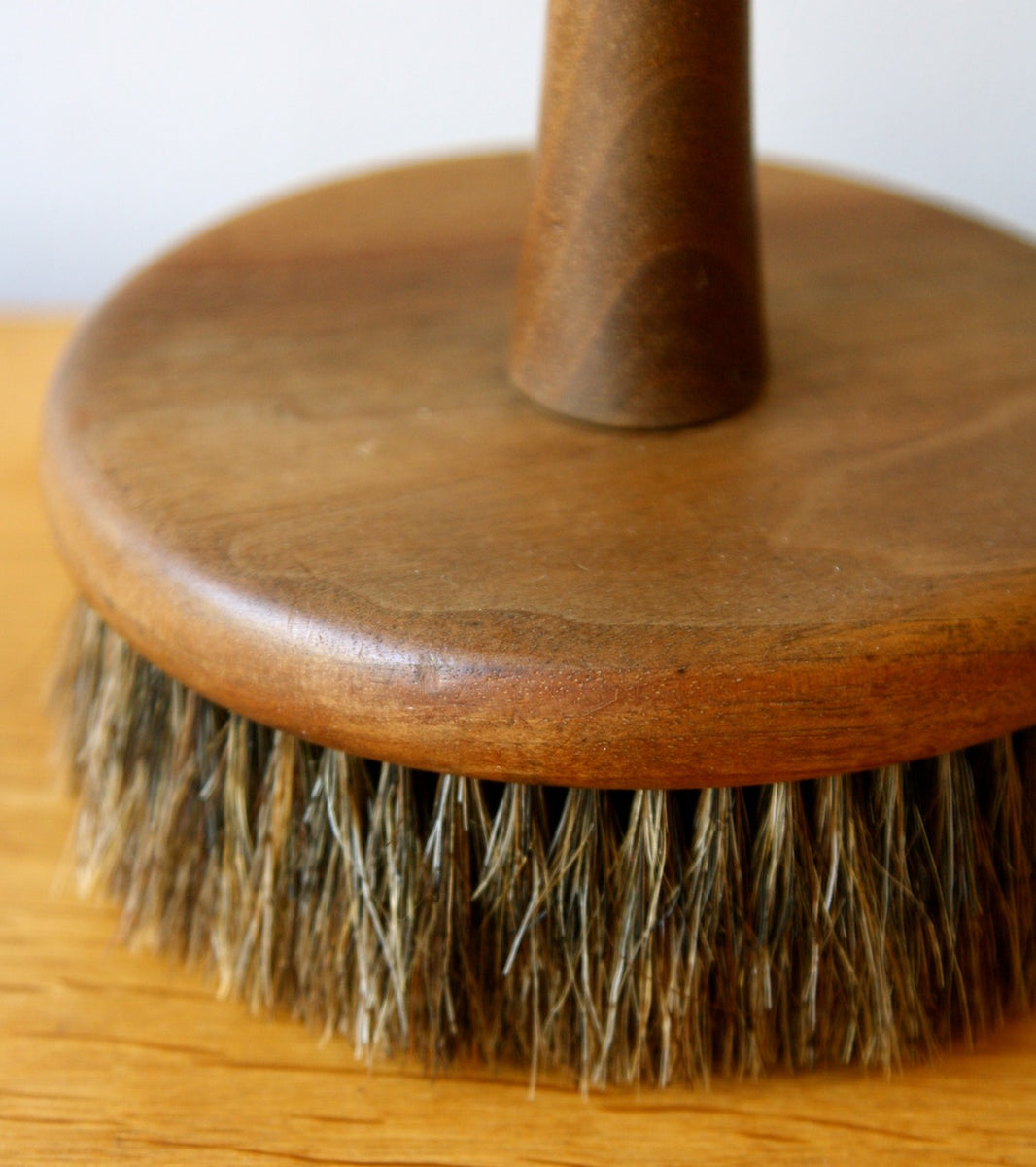 Round Solid Walnut Brush with Natural Bristles, Carl Auböck