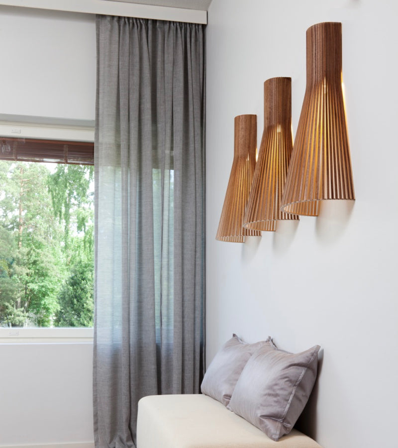 Birch shade Wall lights 4230 Walnut Secto Seppo Koho 4