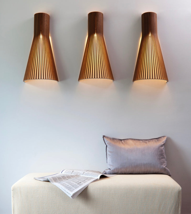 Birch shade Wall lights 4230 Walnut Secto Seppo Koho 5