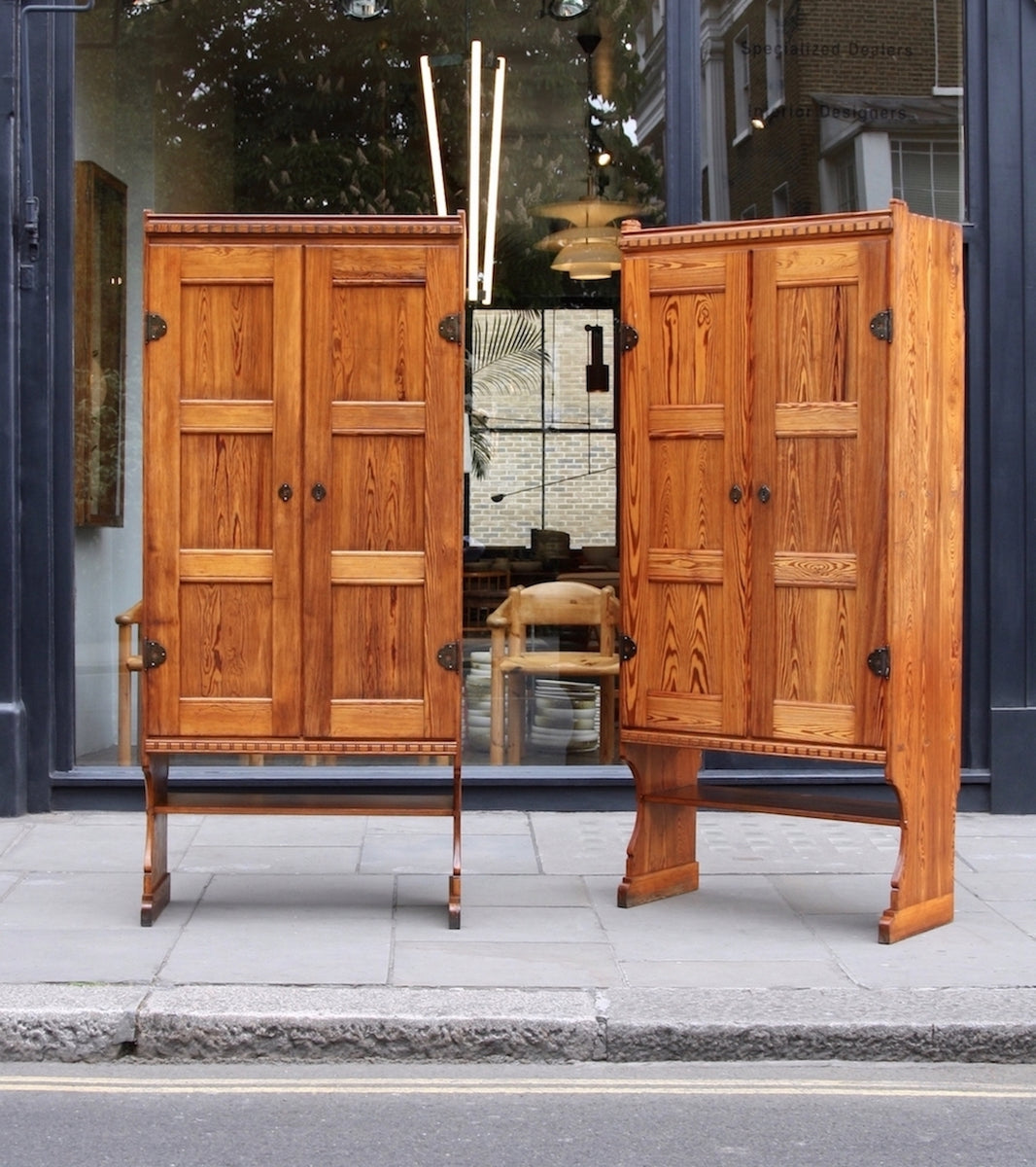 Skønvirke Cabinets Martin Nyrop - unique Danish art nuveau martin nyrup Copenhagen town hall custom made furniture gesamtkunstwerk early 20th century furniture pine patina aged pair of cabinets