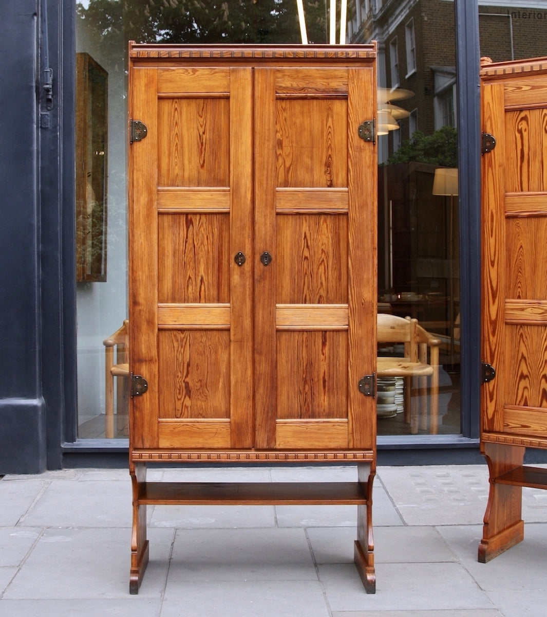 Skønvirke Cabinets Martin Nyrop - original Danish art nuveau martin nyrup Copenhagen town hall custom made furniture gesamtkunstwerk early 20th century furniture pine patina aged pair of cabinets