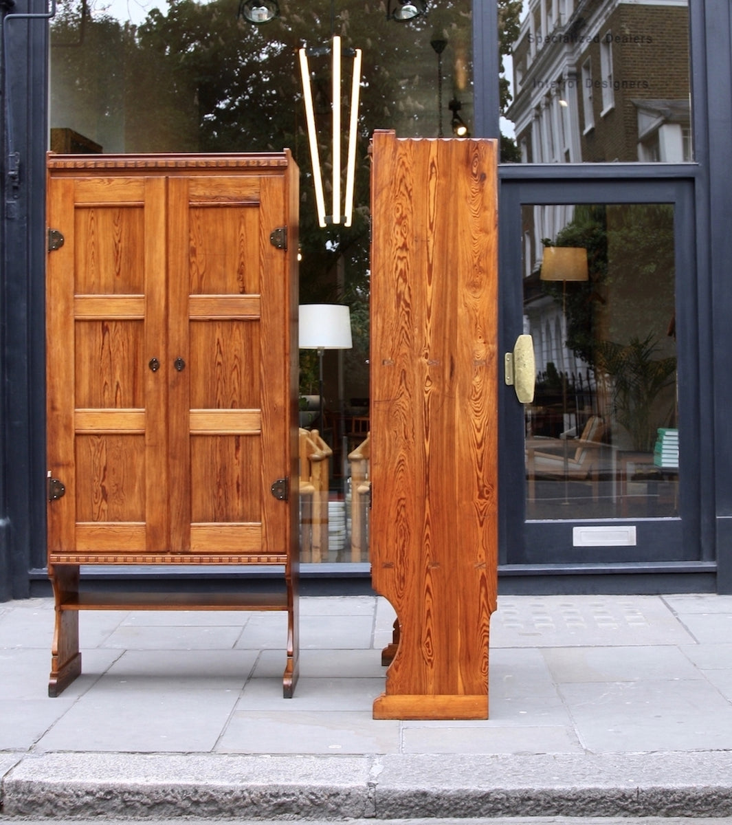 Skønvirke Cabinets Martin Nyrop - skonvirke Danish art nuveau martin nyrup Copenhagen town hall custom made furniture gesamtkunstwerk early 20th century furniture pine patina aged pair of cabinets