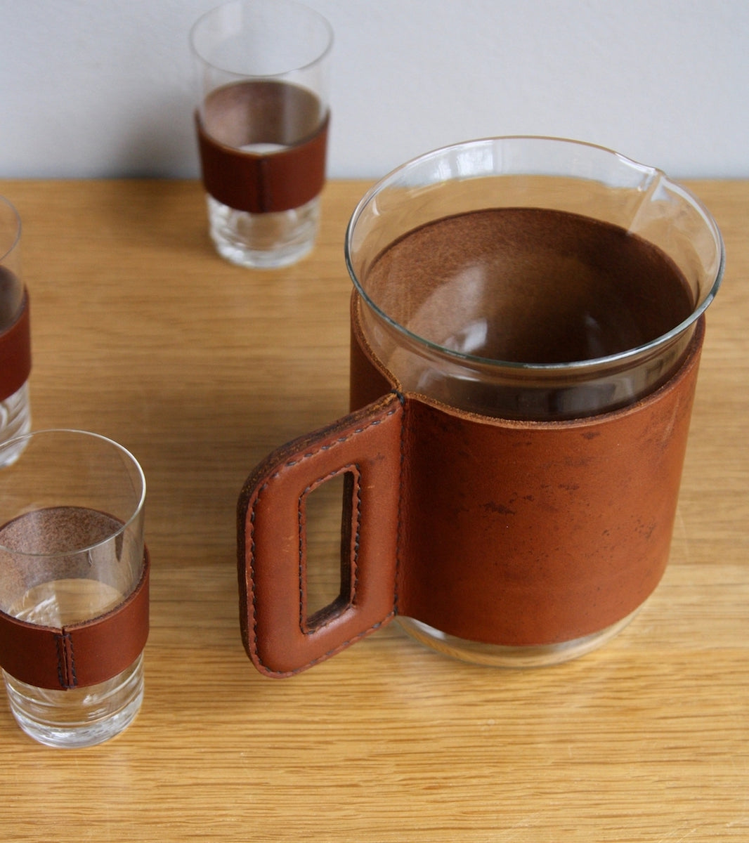 Tan Leather Jug & Glasses Carl Auböck - Image 6