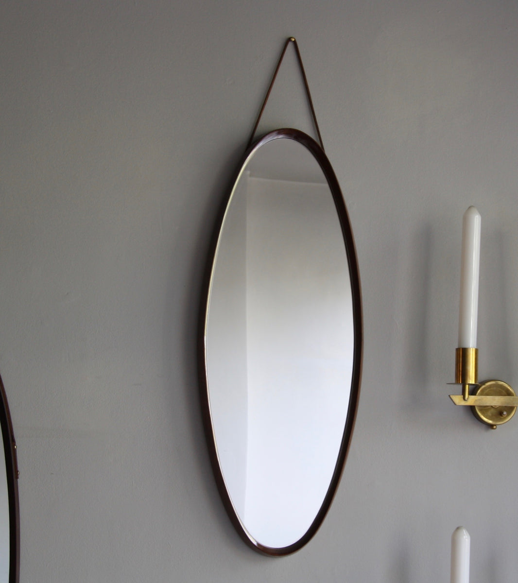 Teak Oval Mirror with Leather Denmark C. 1950 - Image 1
