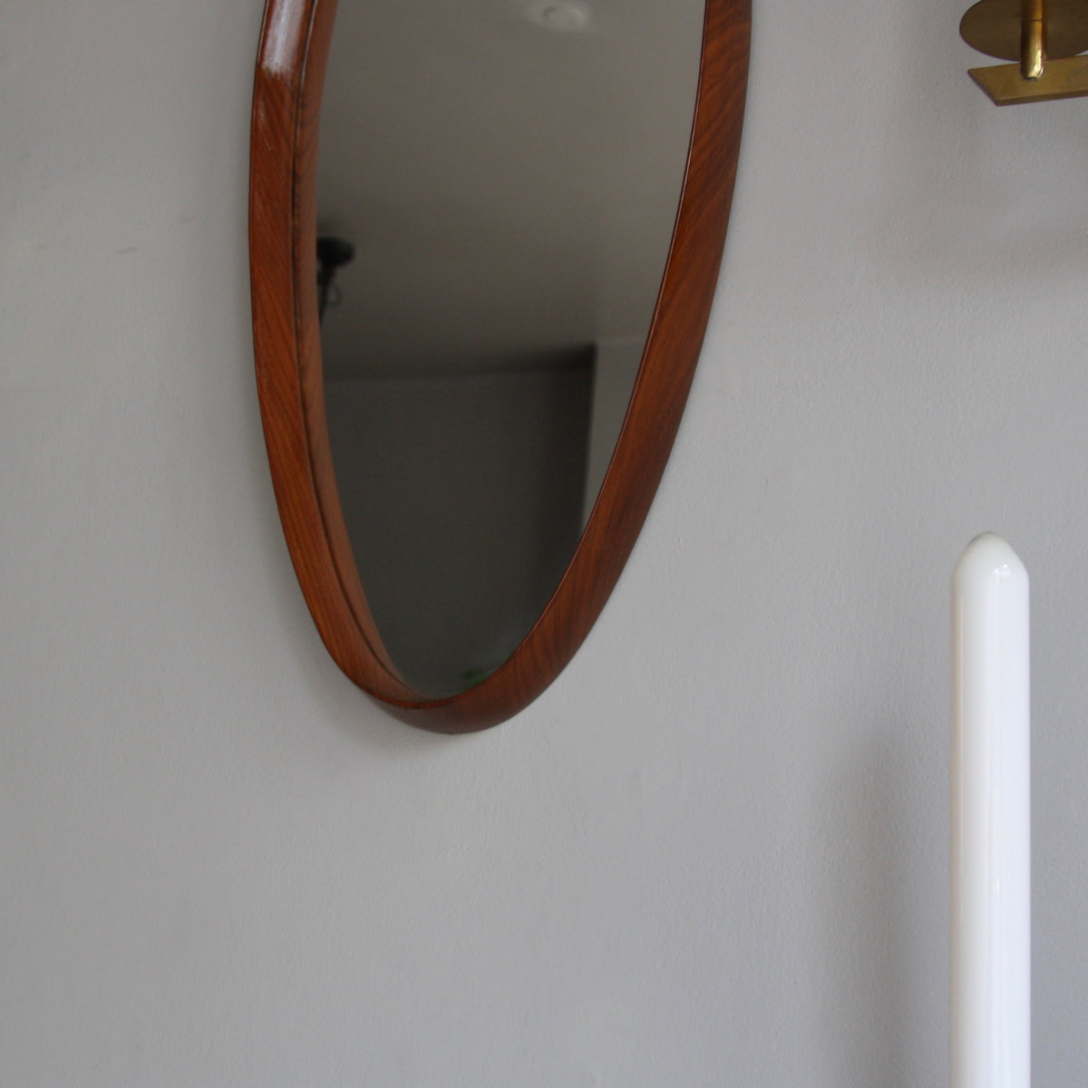 Vintage Teak Oval Mirror with Leather Denmark C. 1950 - Image 2