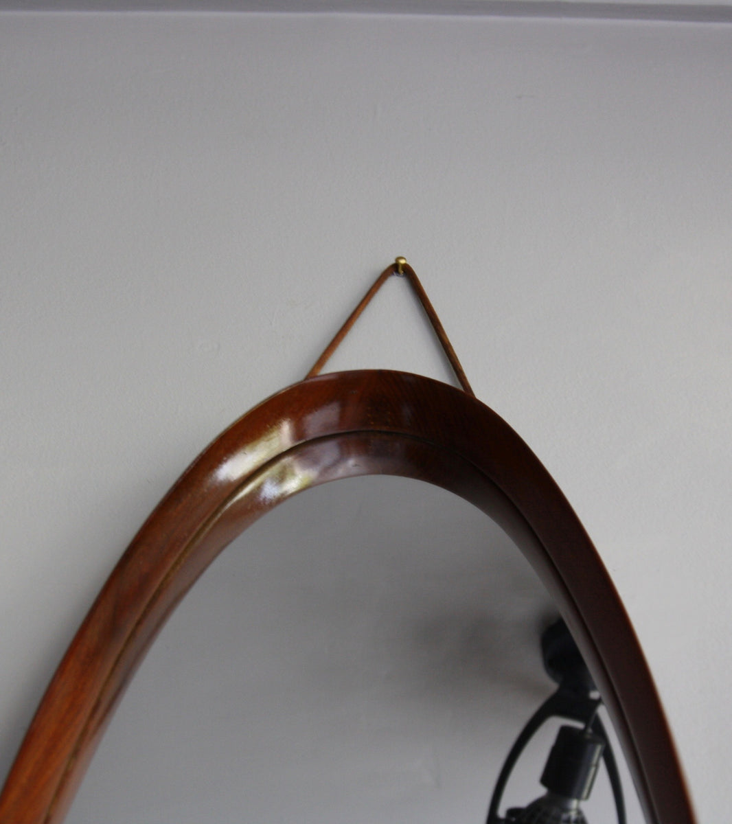 Original 20th Century Teak Oval Mirror with Leather Denmark - Image 3
