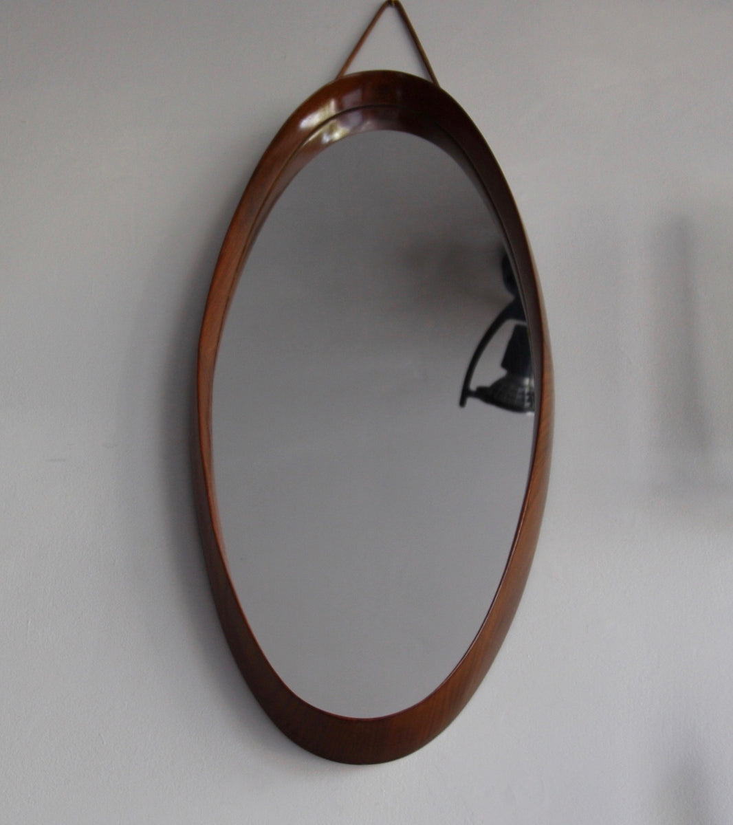 Scandinavian Teak Oval Mirror with Leather Denmark C. 1950 - Image 5
