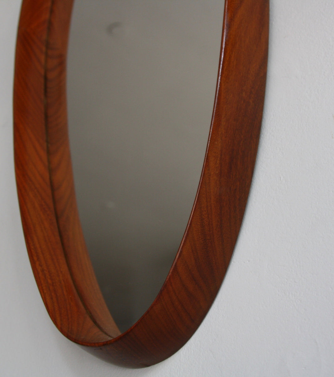 Teak Oval Mirror with Leather Denmark C. 1950 - Image 7