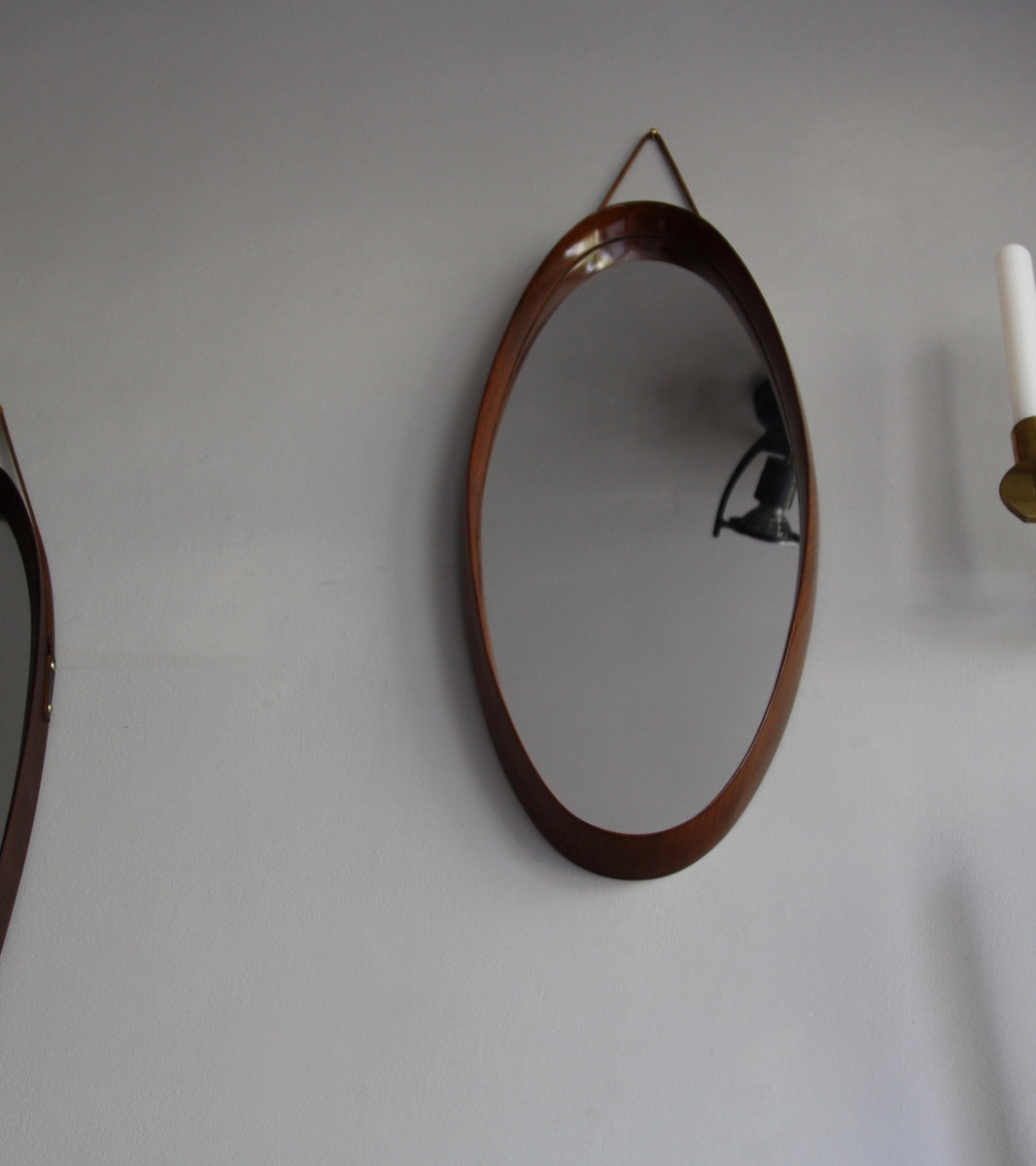 Teak Oval Mirror with Firm Leather Denmark C. 1950 - Image 8