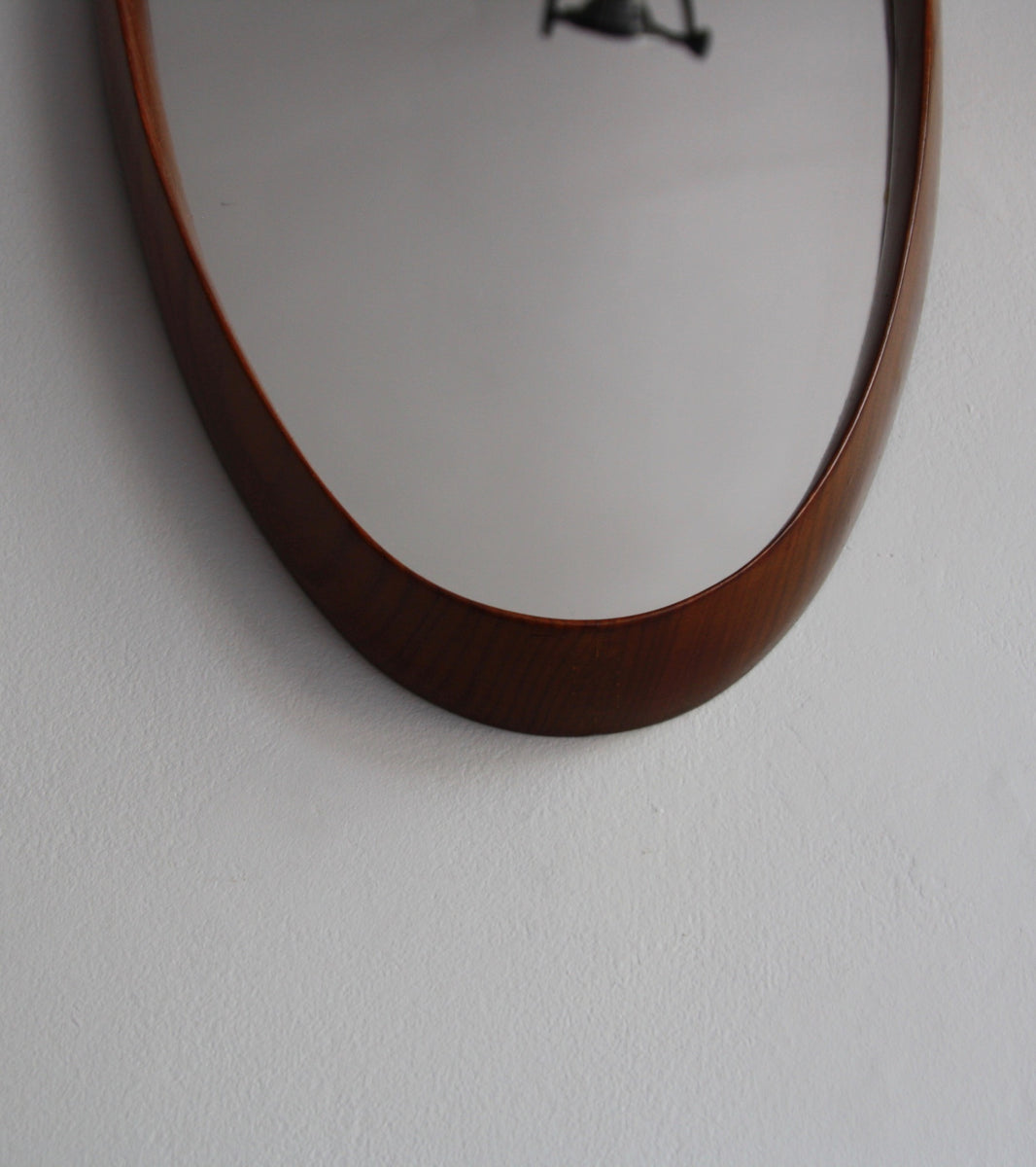 Original Hand-made Teak Oval Mirror with Leather Denmark C. 1950 - Image 9