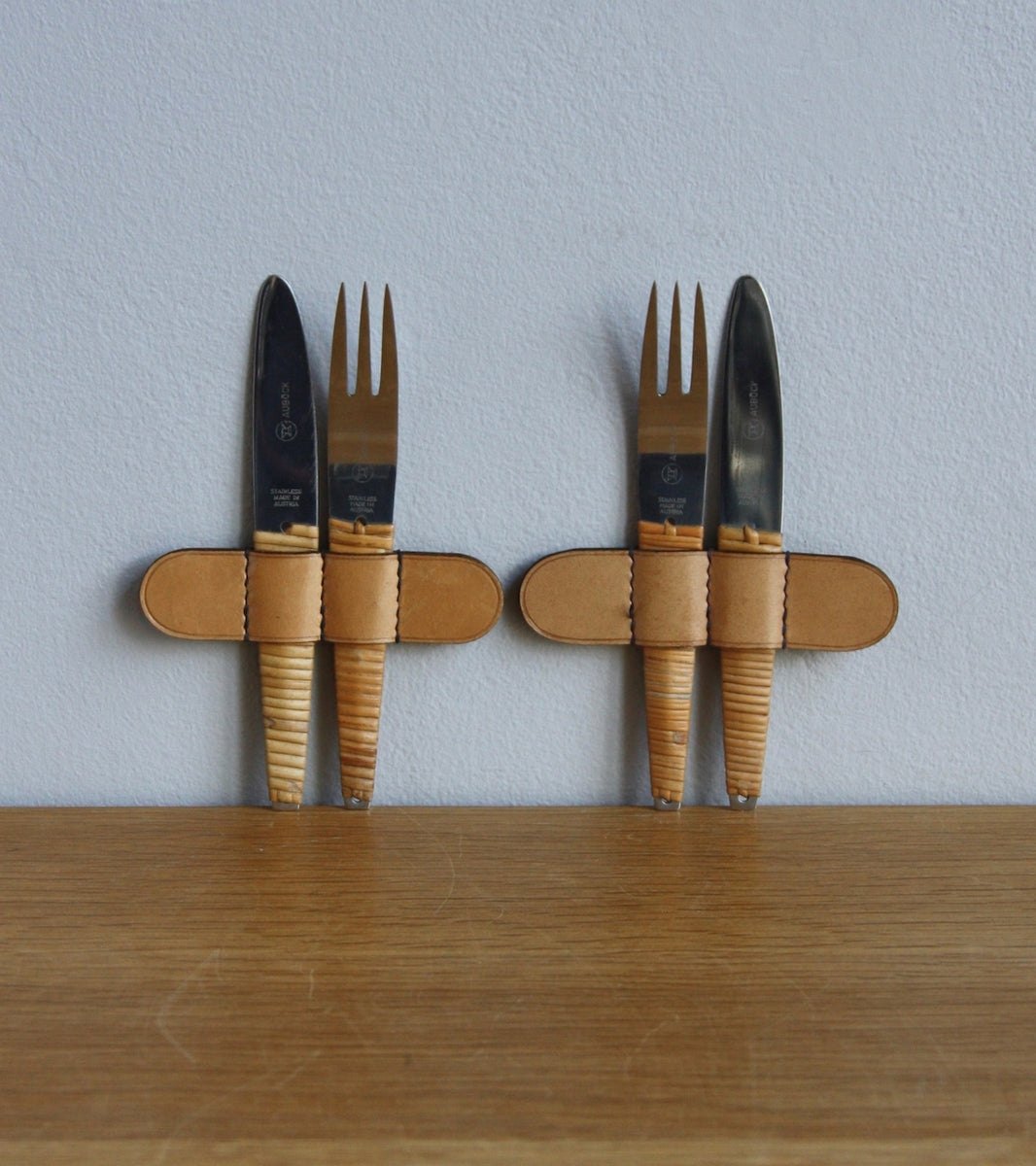 Two Sets of upright Knives & Forks in Stainless Steel & Wicker, Carl Auböck
