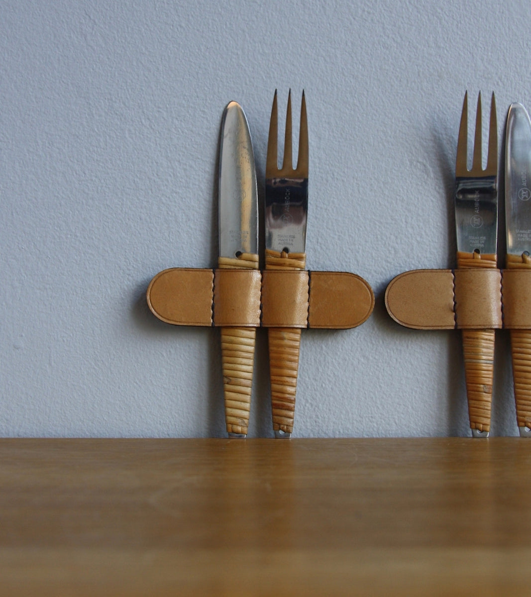 Woven Wicker Covered Two Sets of Knives & Forks, Carl Auböck