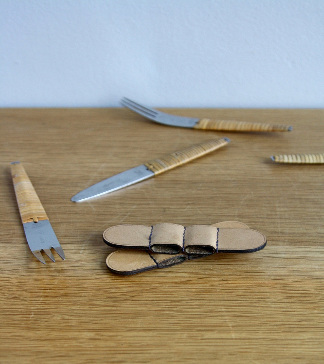 Two Sets of Knives & Forks with Leather Holster, Carl Auböck