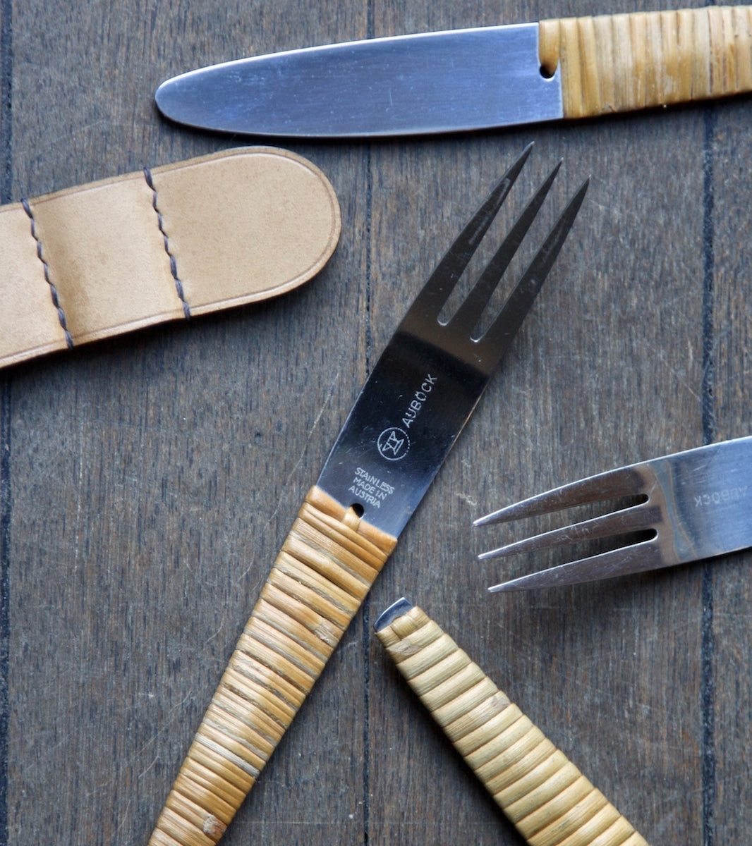 Close-up of Two Sets of Vintage Metal Knives & Forks, Carl Auböck