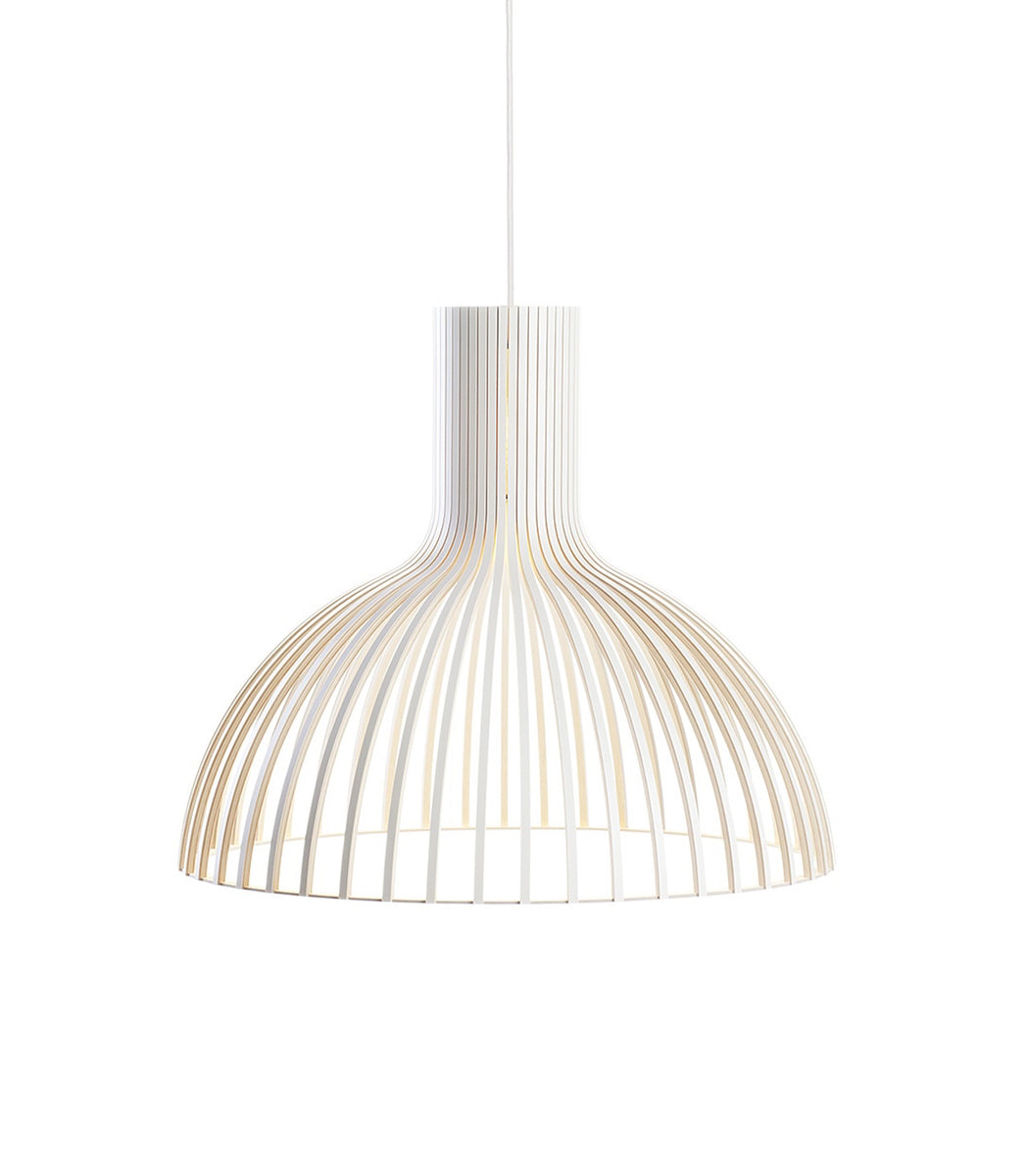 Victo 4250 White wooden pendant Secto Design handmade contemporary lighting sustainable lights Seppo Koho