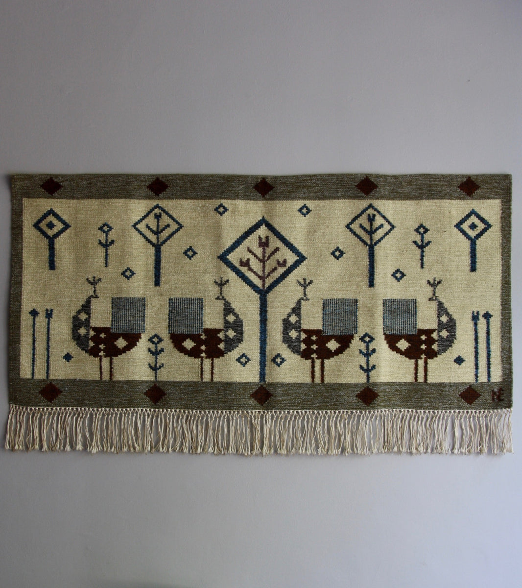 Handwoven Swedish wallhanging 1950s tassels cockerels geometric brown