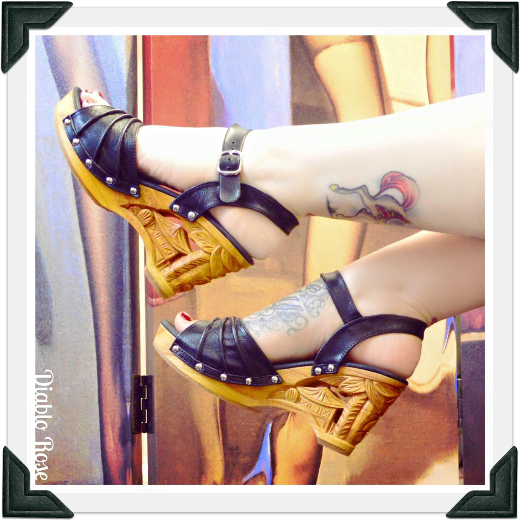 Souvenir - Black Leather/with Ankle Strap - luckyloushoes