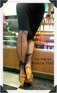 Rockin' Tiki - Black Leather Strap - luckyloushoes
