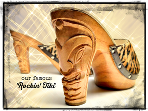 Rockin' Tiki - Black Leather and Leopard Fur/with Ankle Strap
