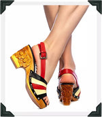 Load image into Gallery viewer, Daisy Jane Slingback - Black, Red and Butter Cream Strap - luckyloushoes
