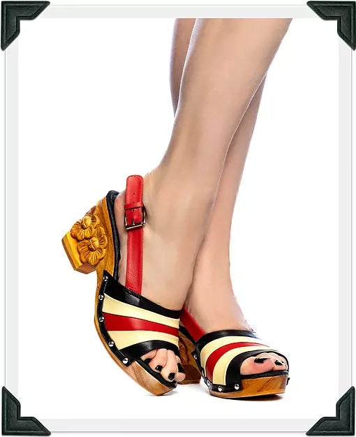 Daisy Jane Slingback - Black, Red and Butter Cream Strap - luckyloushoes
