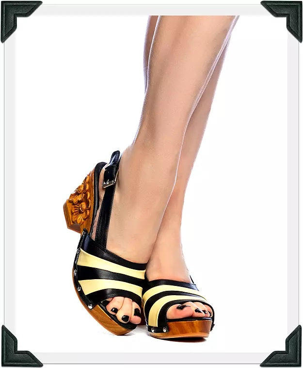 Daisy Jane Slingback - Black and Butter Cream Strap