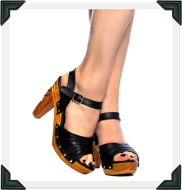 Rockin' Tiki - Black Leather/with Ankle Strap - luckyloushoes