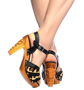 Rockin' Tiki - Black Leather and Leopard Fur/with Ankle Strap - luckyloushoes
