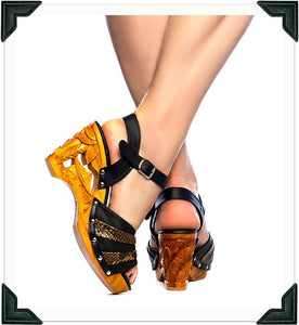 Souvenir -Brown Vegan Viper/with Ankle Strap - luckyloushoes