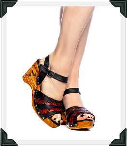 Souvenir - Red Vegan Viper/with Ankle Strap - luckyloushoes