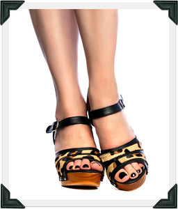 Souvenir - Black Leather and Leopard Fur/with Ankle Strap - luckyloushoes
