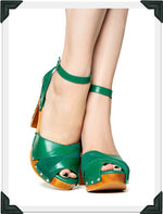 Load image into Gallery viewer, Cherry Blossom - Green Suede and Leather Strap - luckyloushoes