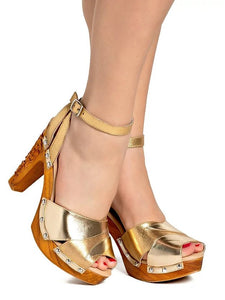 Cherry Blossom - Gilda Gold Metallic Strap - luckyloushoes