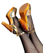 Load image into Gallery viewer, Cherry Blossom - Gilda Gold Metallic Strap - luckyloushoes