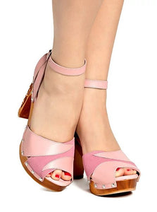 Cherry Blossom - Pink Suede and Leather Strap - luckyloushoes