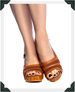 Daisy Jane Slingback - Brown Suede and Leather Strap - luckyloushoes