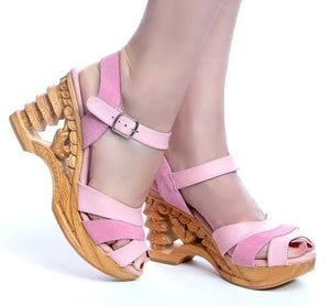 Pagoda Wedge - Pink Suede and Leather Strap - luckyloushoes