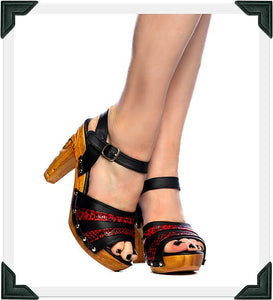 Rockin' Tiki - Red Vegan Viper/with Ankle Strap - luckyloushoes