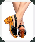 Load image into Gallery viewer, Daisy Jane Slingback - Black Suede and Leather Strap - luckyloushoes