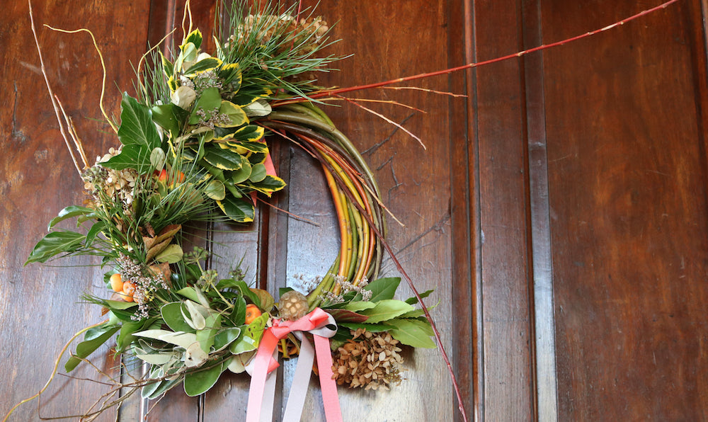 Fresh willow Christmas wreaths