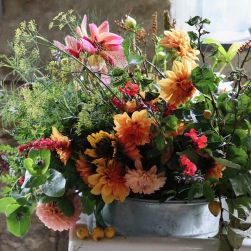 DIY buckets of flowers from Common Farm Flowers